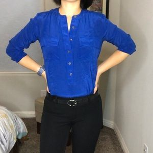 Banana Republic blue silk button up top/blouse.